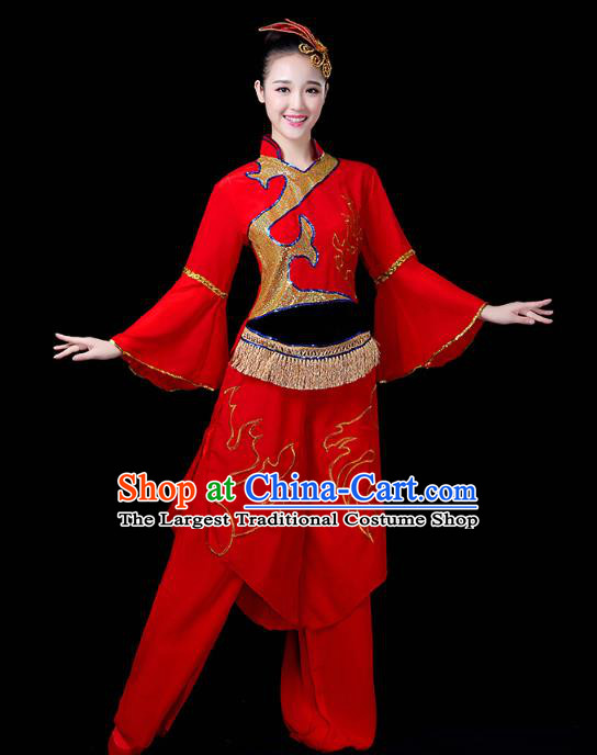 China Drum Dance Costume Yangko Dance Red Uniforms Folk Dance Fan Dance Clothing