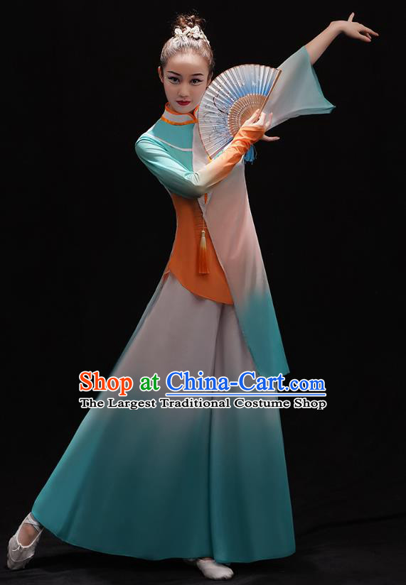 Chinese Female Solo Dance Blue Outfits Classical Dance Clothing Traditional Umbrella Dance Dress