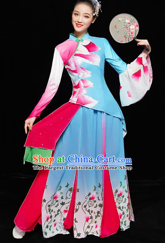 China Folk Dance Clothing Women Group Dance Yangge Costume Yangko Dance Fan Dance Blue Uniforms