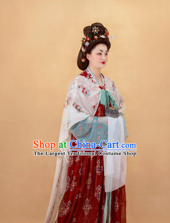 China Ancient Royal Countess Red Hanfu Dress Traditional Tang Dynasty Noble Woman Historical Costumes