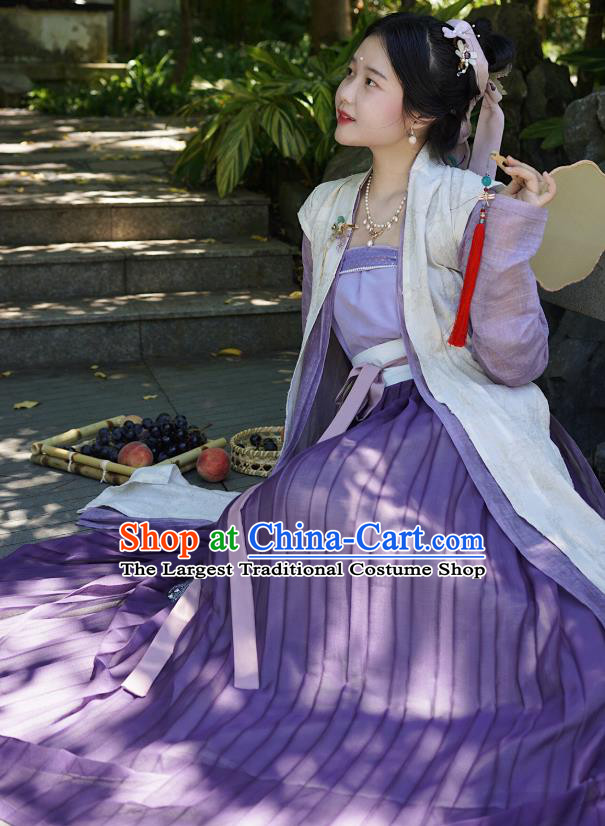 China Ancient Song Dynasty Imperial Concubine Historical Costumes and Headpiece Complete Set