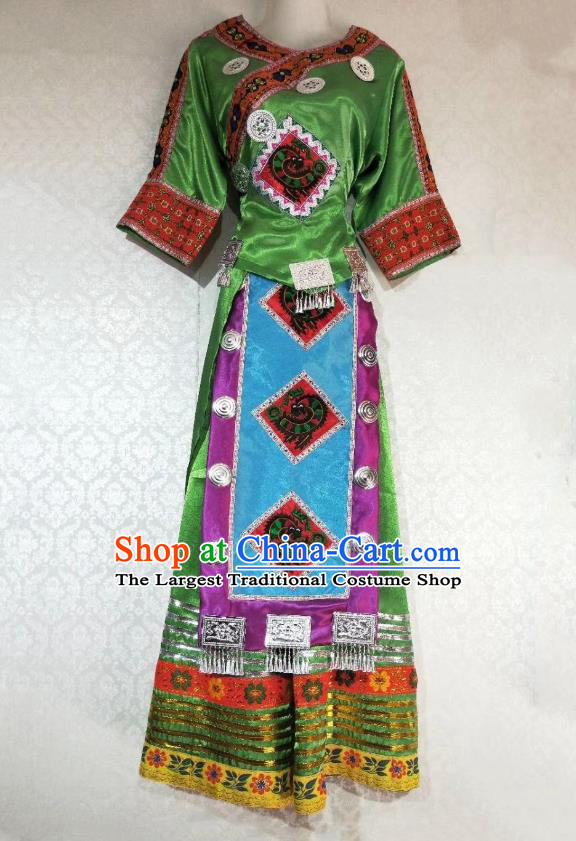 China Ethnic Folk Dance Green Dress Miao Nationality Clothing Guizhou Tujia Minority Woman Outfits