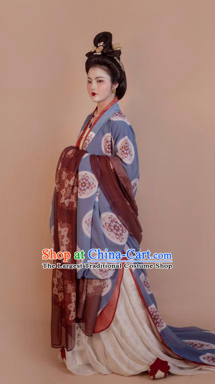 China Ancient Tang Dynasty Imperial Concubine Historical Costumes Traditional Hanfu Dress Clothing