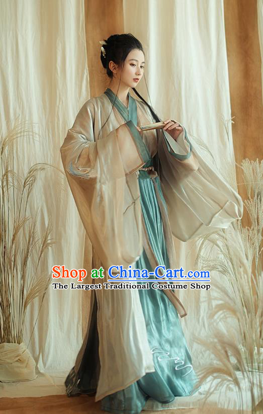 China Ancient Imperial Concubine Hanfu Dress Apparels Traditional Jin Dynasty Court Beauty Historical Costumes