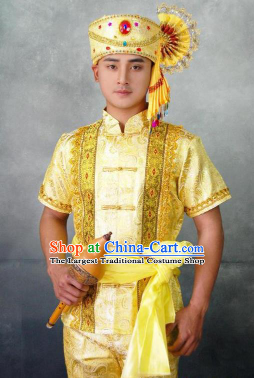 Chinese Traditional Ethnic Folk Dance Golden Costumes Asian Dai Nationality Stage Performance Clothing
