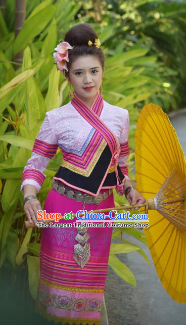 China Yunnan Ethnic Dance Pink Blouse and Rosy Skirt Uniforms Dai Nationality Young Female Clothing