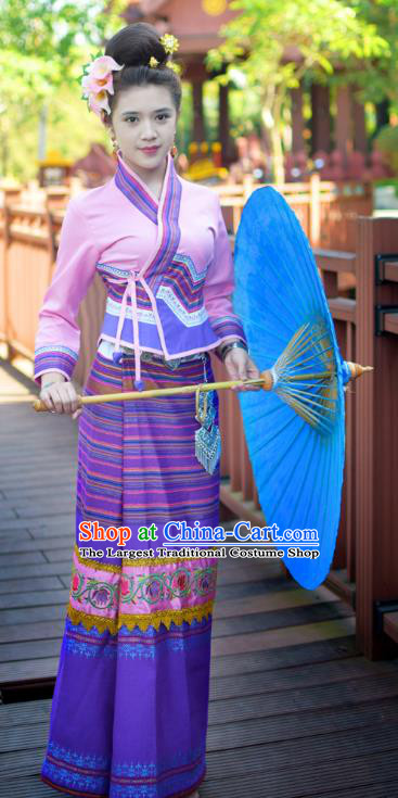 China Yunnan Ethnic Dance Pink Blouse and Purple Skirt Uniforms Dai Nationality Stage Show Clothing