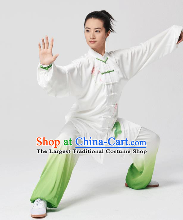 China Traditional Kung Fu Performance Uniforms Tai Chi Hand Painting Lotus White Costumes