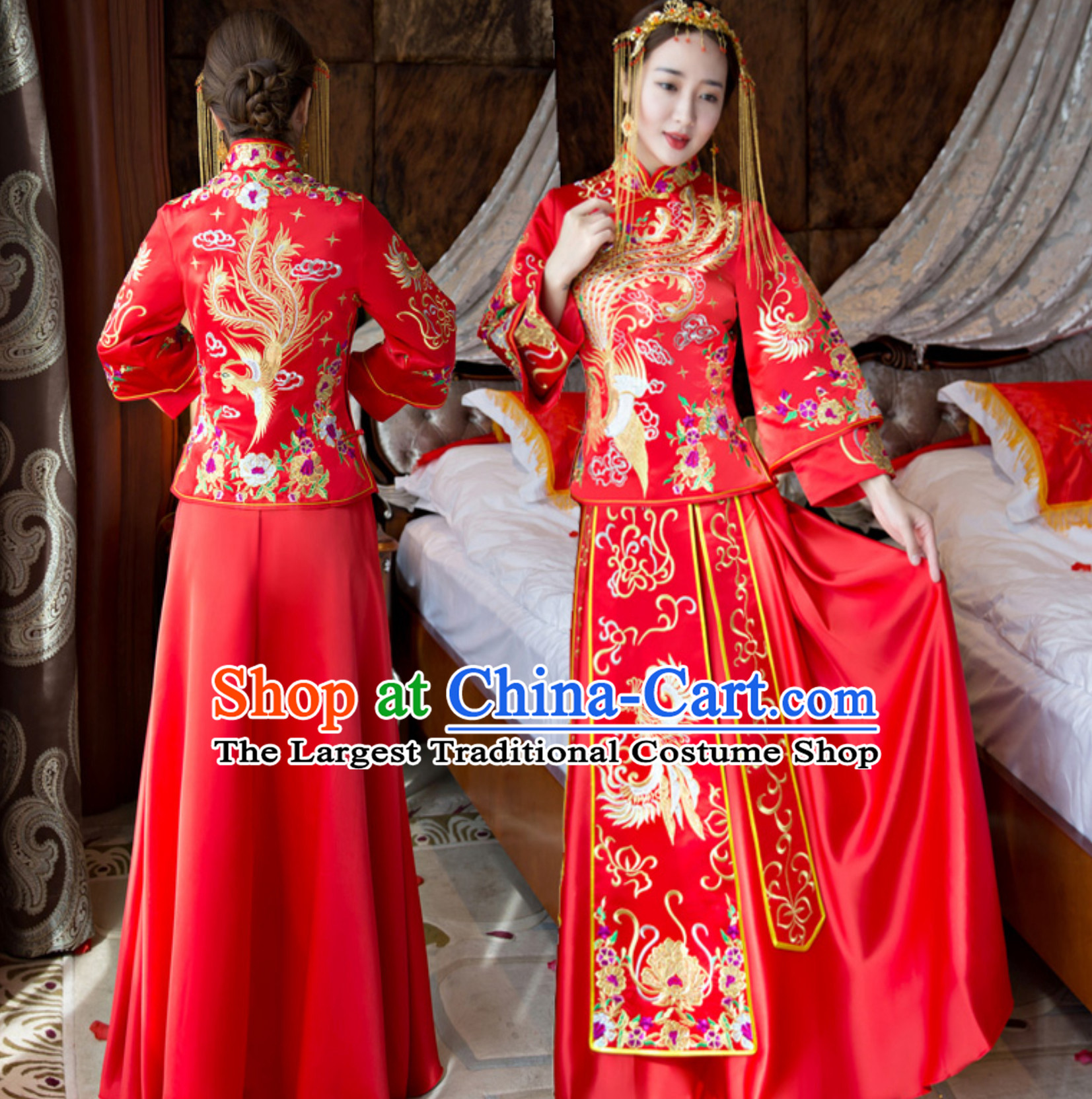 Traditional Chinese Classical Lucky Red Phoenix Bride Wedding Dresses