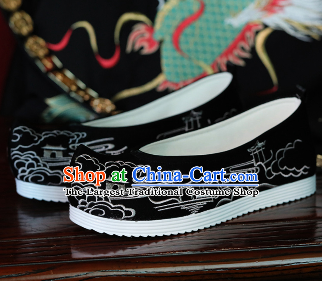 Top Black Chinese Classical Handmade Embroidered Ancient Building Hanfu Shoes