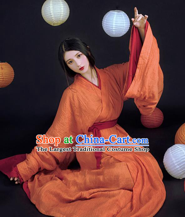 China Ancient Court Beauty Orange Hanfu Dress Traditional Jin Dynasty Palace Princess Historical Clothing
