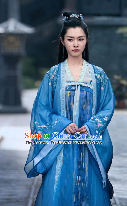 China Ancient Rich Lady Blue Hanfu Dress Traditional Television Drama My Heroic Husband Su Tan Er Song Yi Clothing