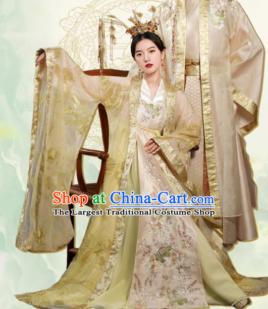 China Traditional Tang Dynasty Empress Wedding Costumes Ancient Queen Golden Hanfu Dress