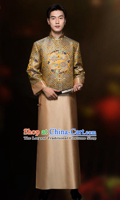 Chinese Classical Bridegroom Clothing Traditional Wedding Costume Golden Mandarin Jacket and Long Robe