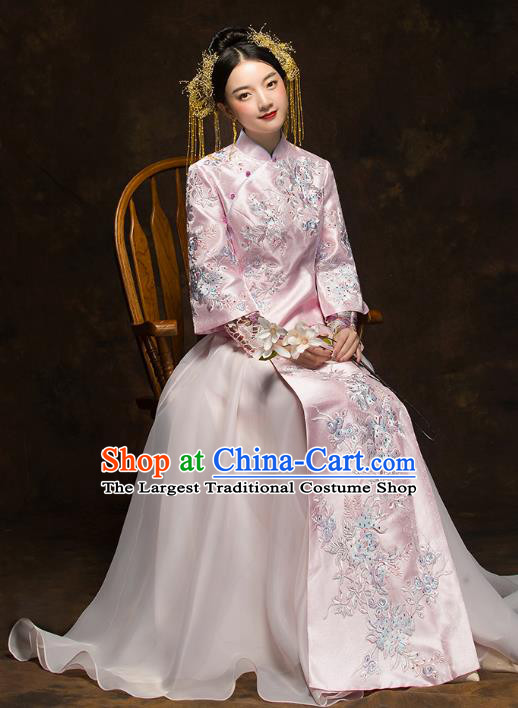 China Traditional Toast Embroidered Pink Dress Wedding Xiuhe Suits Classical Bride Costumes