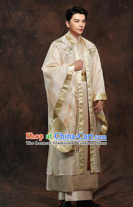 Chinese Ancient Prince Golden Clothing Traditional Song Dynasty Wedding Costumes