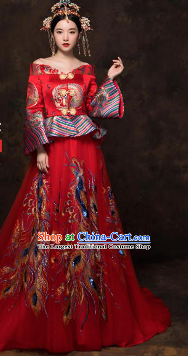 China Classical Embroidered Blouse and Skirt Traditional Bride Xiuhe Suit Costumes Wedding Toast Trailing Dress