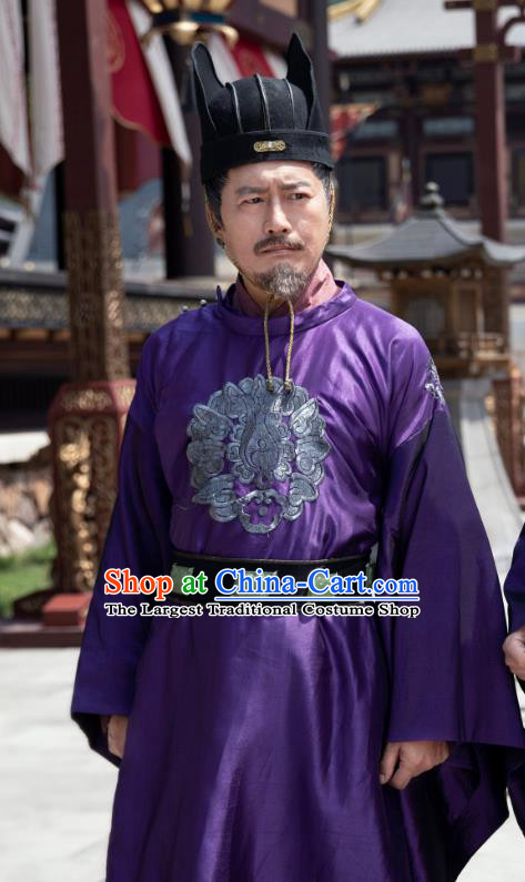 China Ancient Prime Minister Costumes Television Drama My Heroic Husband Qin Siyuan Traditional Official Robe Clothing