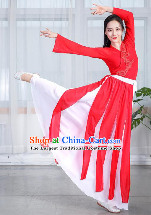 China Classical Dance Performance Red Chiffon Dress Umbrella Dance Training Clothing