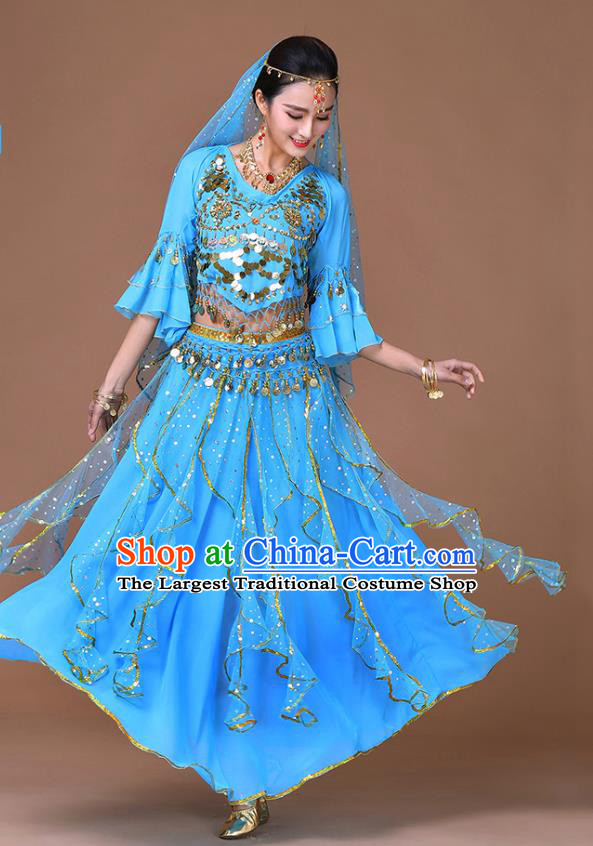 Indian Bollywood Dance Sequins Blouse and Skirt Sexy Dance Clothing Belly Dance Training Blue Uniforms