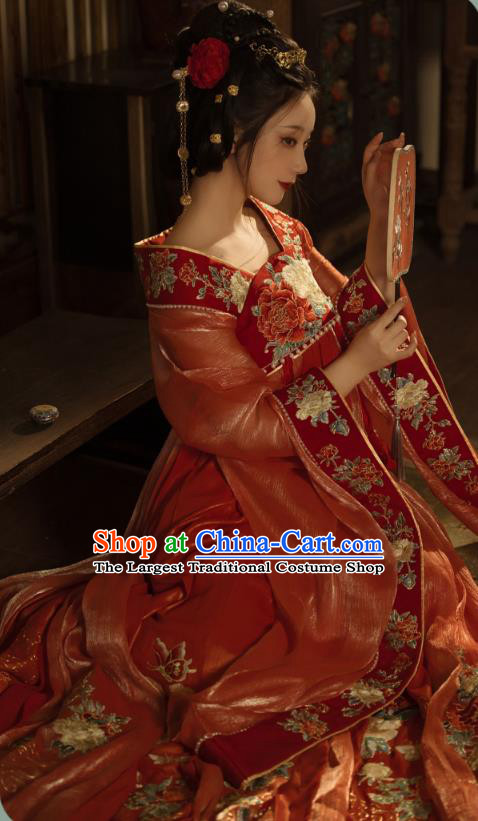 China Traditional Jin Dynasty Imperial Concubine Historical Clothing Ancient Court Woman Red Hanfu Dress Garments