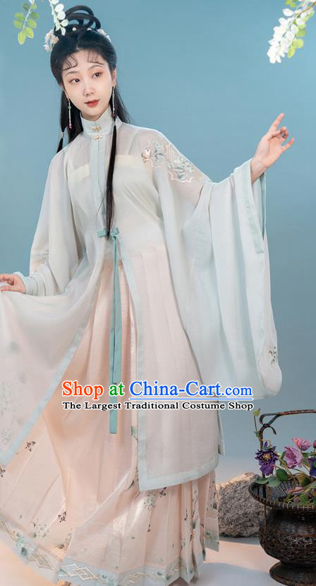 China Traditional Ming Dynasty Young Lady Clothing Ancient Patrician Woman Hanfu Dress Costumes