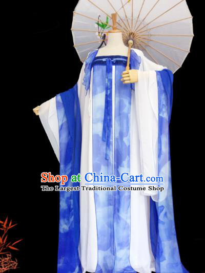 China Ancient Imperial Concubine Garments Traditional Tang Dynasty Palace Lady Blue Hanfu Dress Cosplay Fairy Clothing