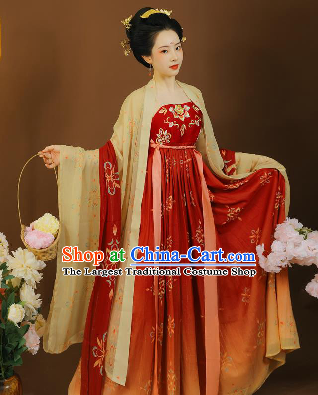 China Tang Dynasty Imperial Concubine Clothing Traditional Red Hanfu Dress Garment Ancient Court Woman Embroidered Apparels