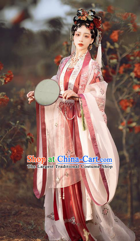 China Traditional Hanfu Garments Ancient Court Woman Embroidered Hanfu Dress Song Dynasty Imperial Concubine Historical Clothing