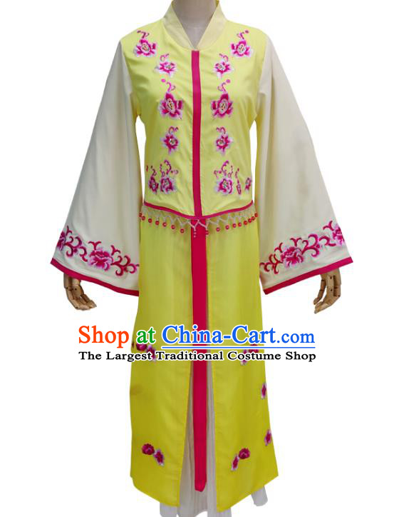 Chinese Shaoxing Opera Princess Garment Beijing Opera Hua Tan Clothing Traditional Peking Opera Diva Yellow Dress