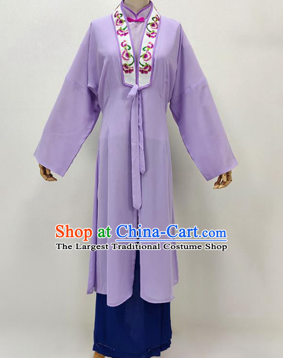 Chinese Traditional Peking Opera Lilac Dress Shaoxing Opera Young Woman Garment Beijing Opera Hua Tan Clothing