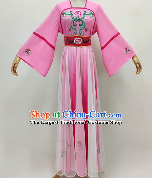 Chinese Beijing Opera Diva Clothing Traditional Peking Opera Hua Tan Pink Dress Shaoxing Opera Fairy Garment